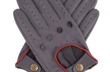 grey leather driving gloves