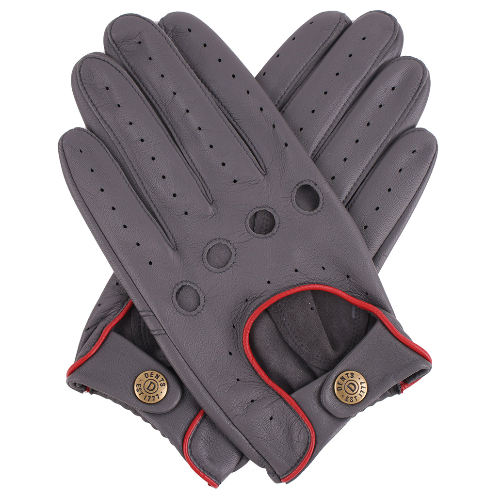 Big Grey Leather Driving Gloves