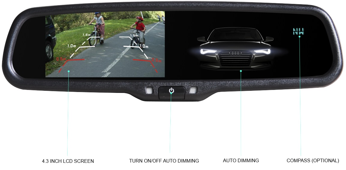 Rear View Mirror With Bluetooth and Backup Camera
