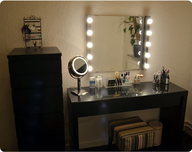 Black Makeup Vanity with Lights