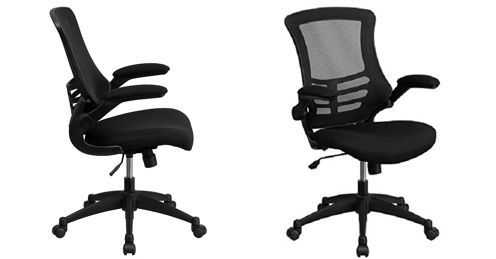 Flash Durniture Mid-Back Black Mesh Swivel Task Chair with Flip-UP Arms