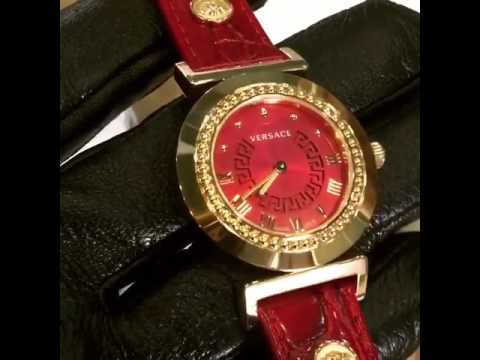 Versace Watch Vanity Red Dial Stainless Steel Case Calf Leather Belt