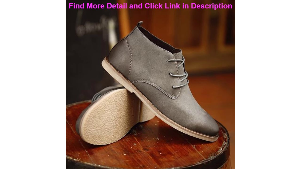Top KATESEN Autumn Mens Chukka Boots Winter Warm Fur Shoes Vintage Pointed Toe Derby Boot Casual La