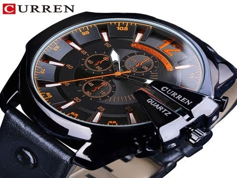 CURREN Orange Dial Fashion Luxury Brand Design Black Leather Belt Calendar Mens Quartz Military S…