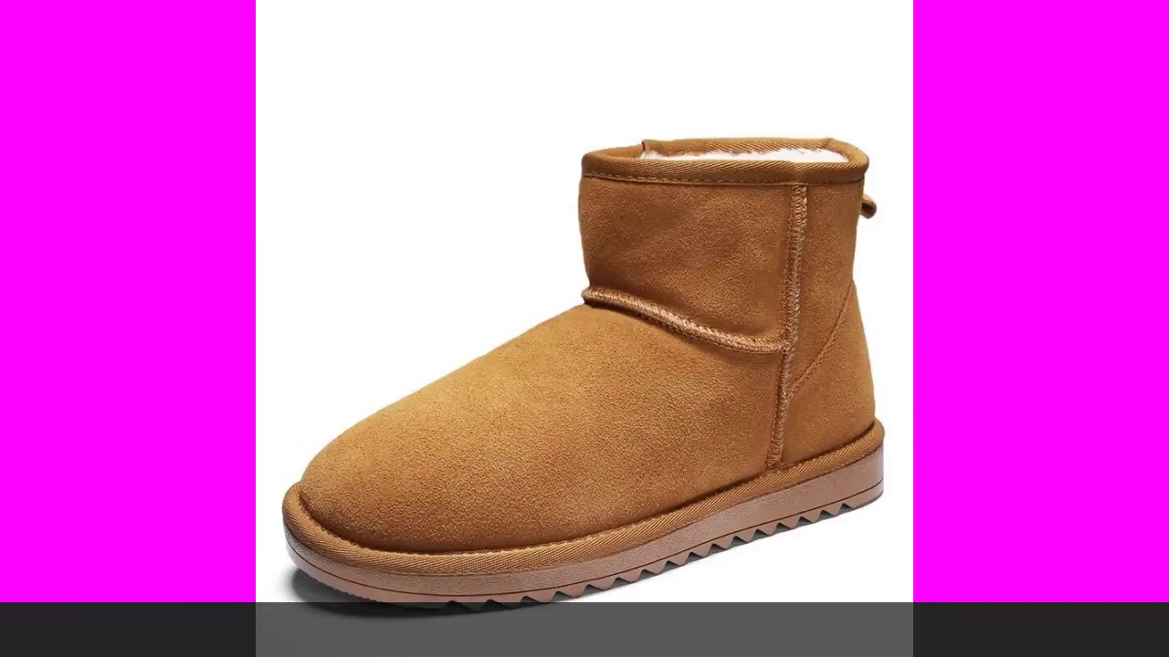 Unisex Snow Boots Genuine Leather 100% Wool Classic Warm Winter Boots Ankle High Vegan Suede Cowh…
