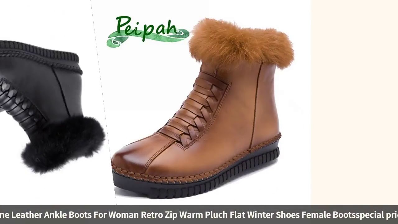PEIPAH Women Snow Boots Winter Genuine Leather Ankle Boots For Woman Retro Zip Warm Pluch Flat Wi…