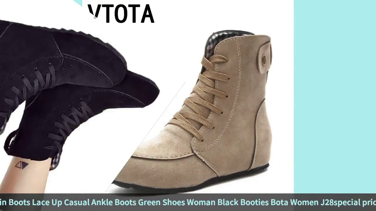VTOTA Boots Female Autumn Boots Flat Martin Boots Lace Up Casual Ankle Boots Green Shoes Woman Bl…