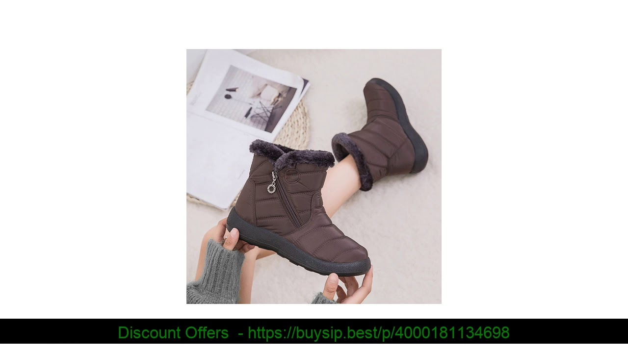 ❄️ Special Women Winter Warm Snow Boots Plush-lined Slip On Waterproof Ankle Shoes Slip On Flat Cas