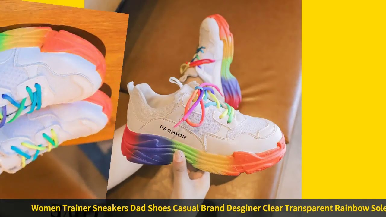 Women Trainer Sneakers Dad Shoes Casual Brand Desginer Clear Transparent Rainbow Sole Lace Up Sho…