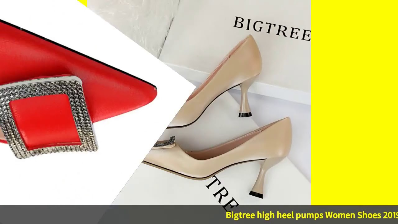 Bigtree High Heel Pumps Women Shoes 2019 Pointed Stiletto Shallow Mouth Black Yellow Silver Fashi…