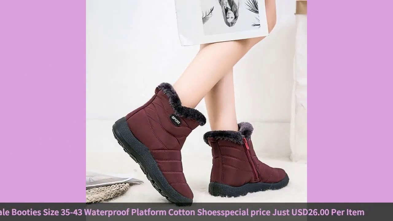 Women Boots Winter Shoes Women Snow Boots With Zipper Botas Mujer Female Booties Size 35-43 Water…