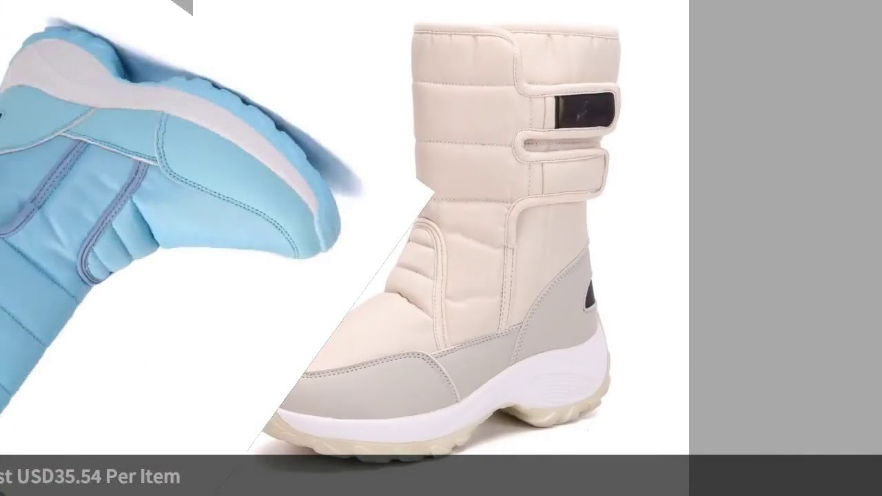 Winter large size wild high female non slip thick snow boots women's warm padded cotton b…