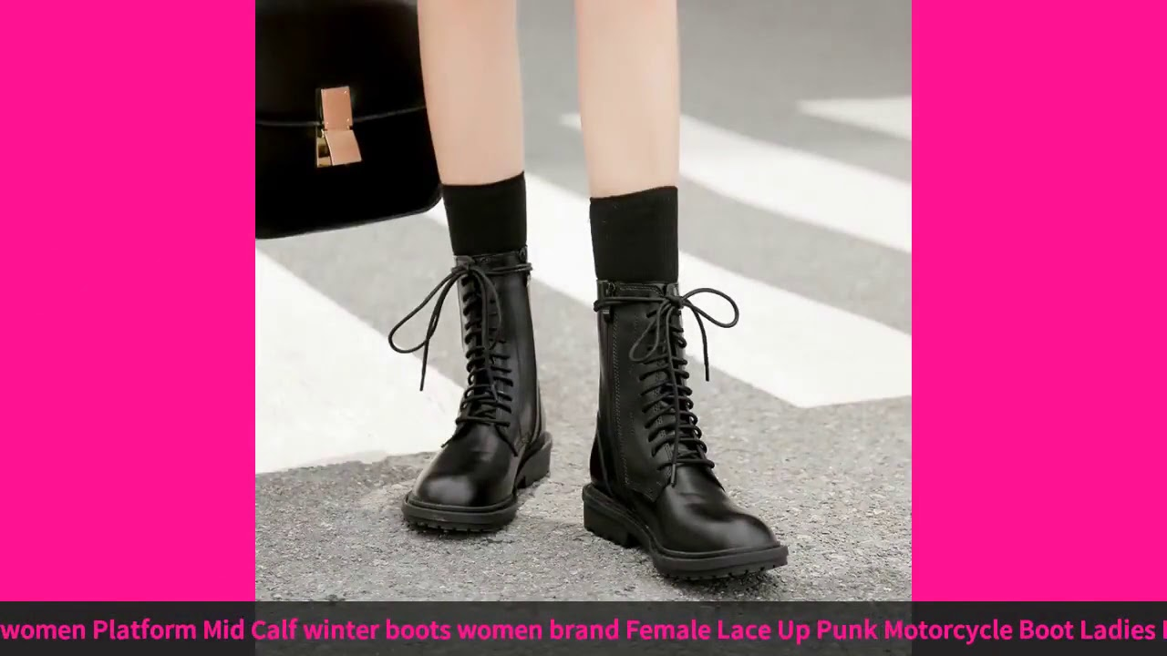Fall Boots Women Platform Mid Calf Winter Boots Women Brand Female Lace Up Punk Motorcycle Boot L…