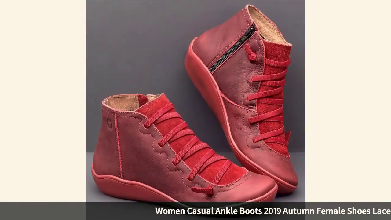 Women Casual Ankle Boots 2019 Autumn Female Shoes Lace Up High Top Women Shoes Round Toe Wedges S…