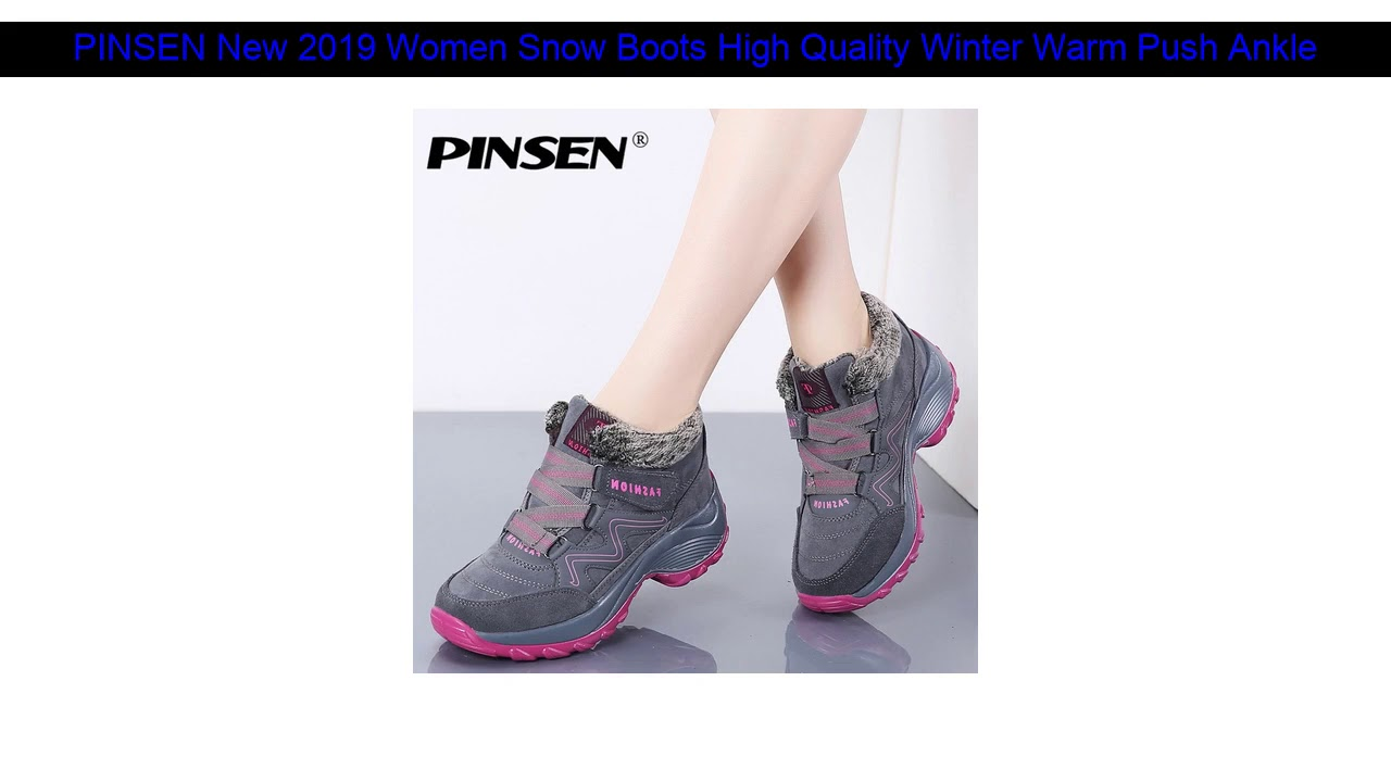 PINSEN New 2019 Women Snow Boots High Quality Winter Warm Push Ankle Boots Women Platform Female W