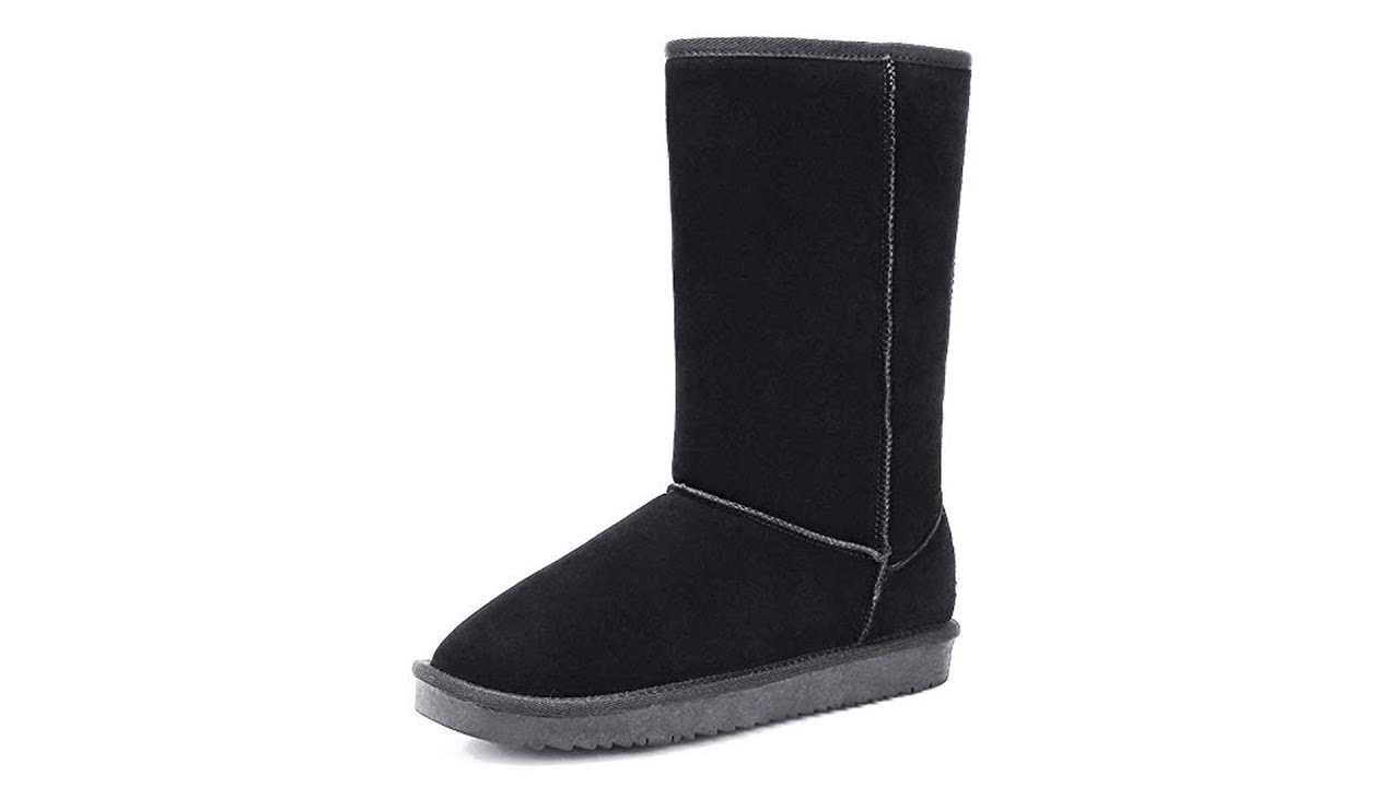 FANTURE Womens Classic Snow Boots Warm Suede Leather Winter Short Boot Flat Anti Slip Fur Lining Mid