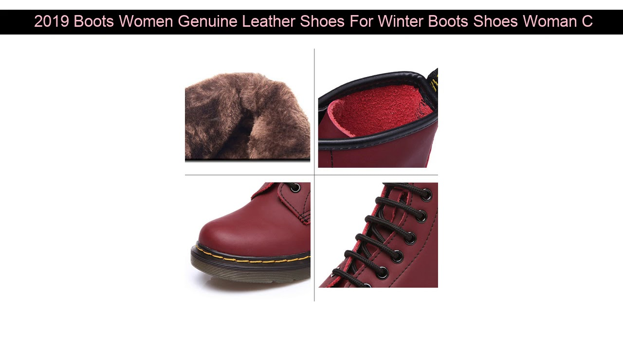 2019 Boots Women Genuine Leather Shoes For Winter Boots Shoes Woman Casual Spring Genuine Leather