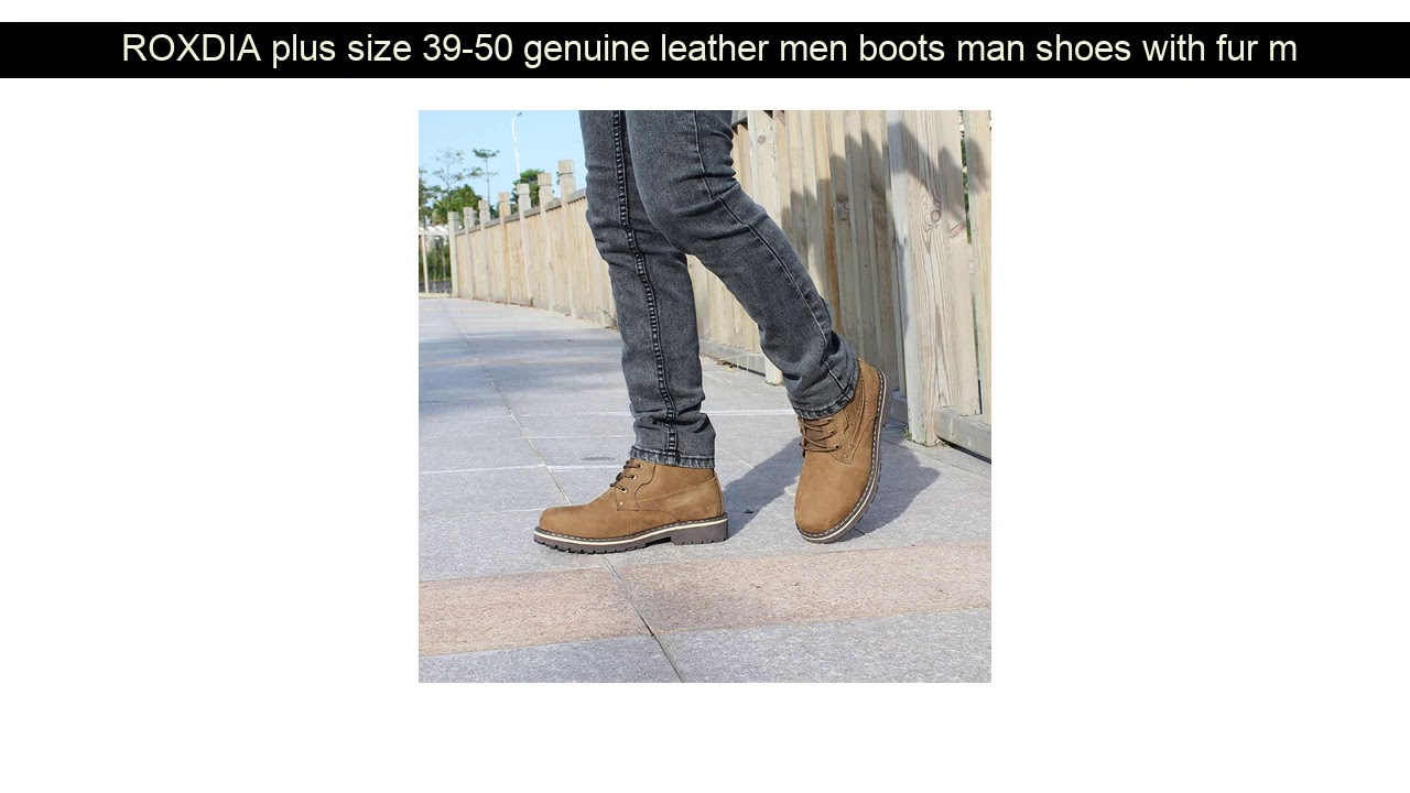ROXDIA plus size 39-50 genuine leather men boots man shoes with fur male winter boots warm snow bo