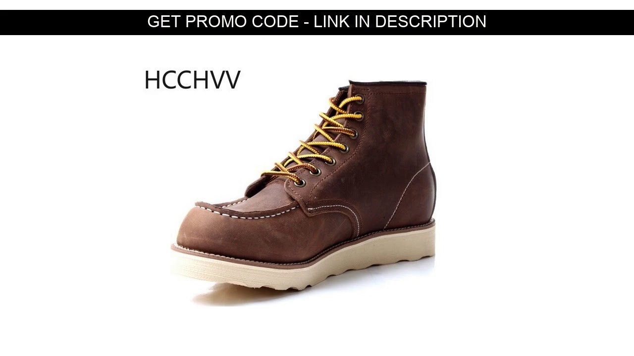 Review  Real leather men's Vintage boots Wing bronze primary color net mens red shoes coffee Hiking