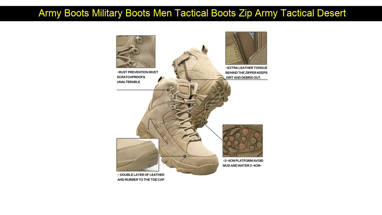 Army Boots Military Boots Men Tactical Boots Zip Army Tactical Desert Combat Boots Safety Shoe Sno