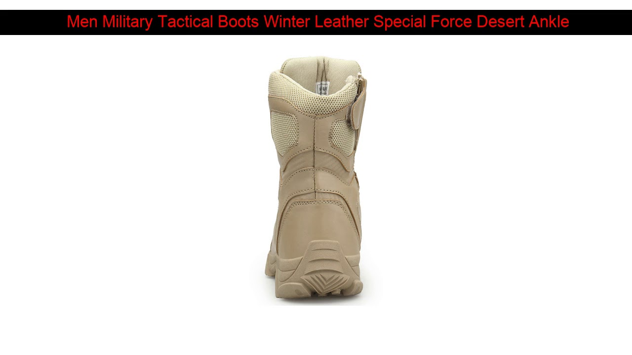 Men Military Tactical Boots Winter Leather Special Force Desert Ankle Combat Boots Men Leather Sno