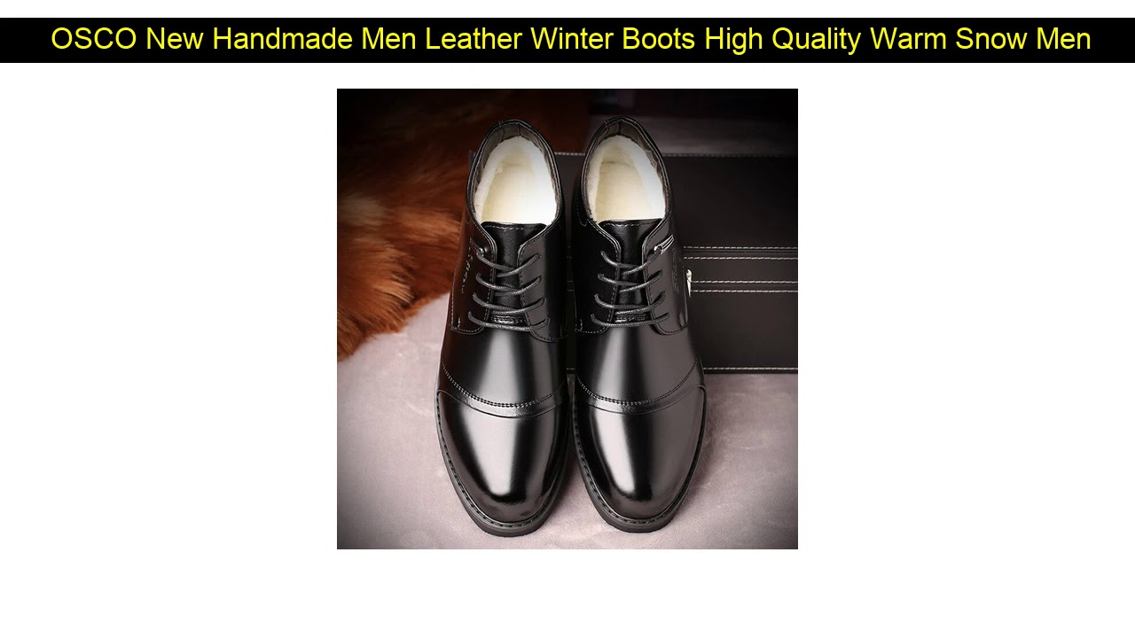 OSCO New Handmade Men Leather Winter Boots High Quality Warm Snow Men Boots Ankle Boots For Men Bu