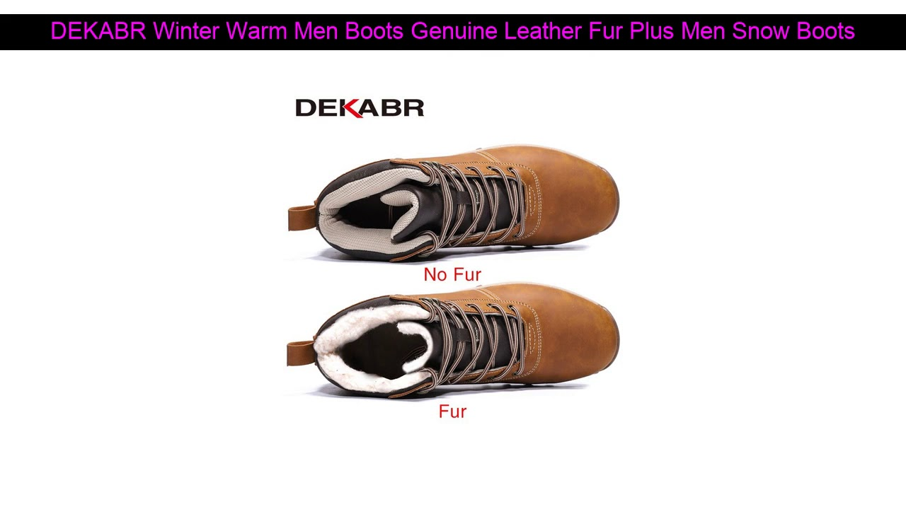 DEKABR Winter Warm Men Boots Genuine Leather Fur Plus Men Snow Boots Handmade Waterproof Working A