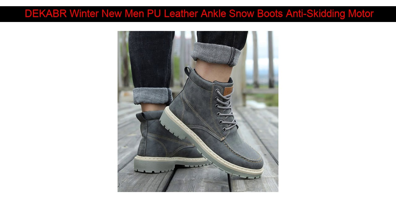 DEKABR Winter New Men PU Leather Ankle Snow Boots Anti-Skidding Motorcycle Warm Boots 2019 High Qu