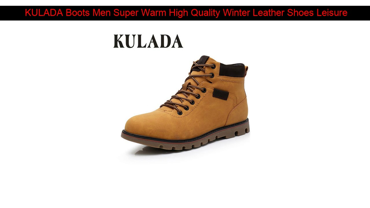 KULADA Boots Men Super Warm High Quality Winter Leather Shoes Leisure Skid Boots Retro Men Lace Up