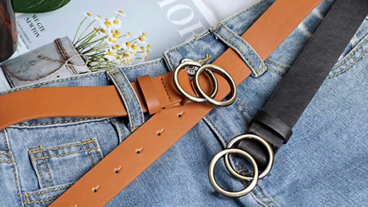 Women Girls Leather Belt Round Ring Metal Double Buckle Belt Waistband Belts Elegent For Women&am…