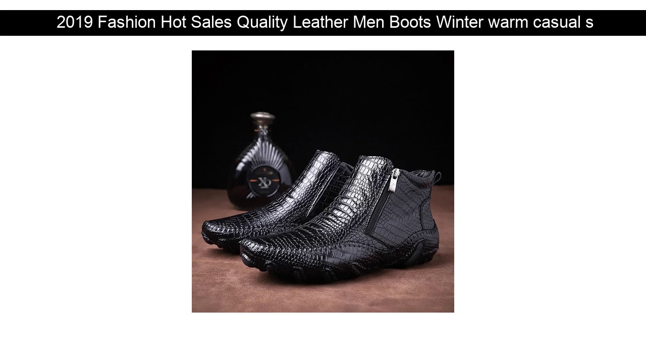 2019 Fashion Hot Sales Quality Leather Men Boots Winter warm casual shoes Men Footwear Zipper Male