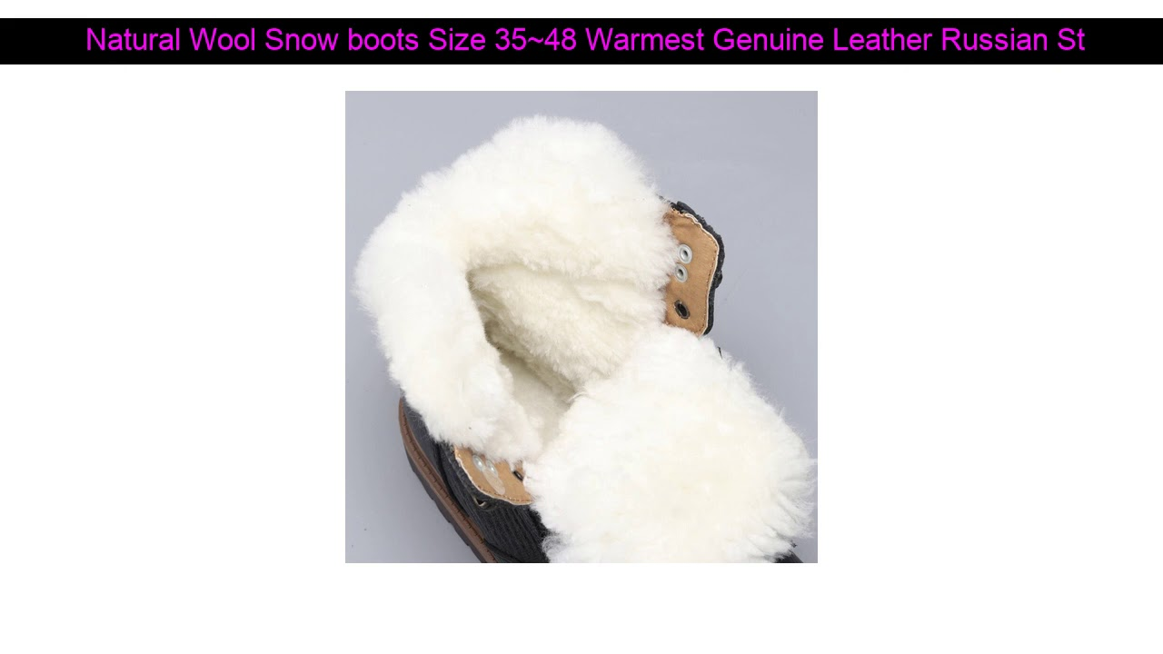 Natural Wool Snow boots Size 35~48 Warmest Genuine Leather Russian Style Men Winter Snow Boots #YM