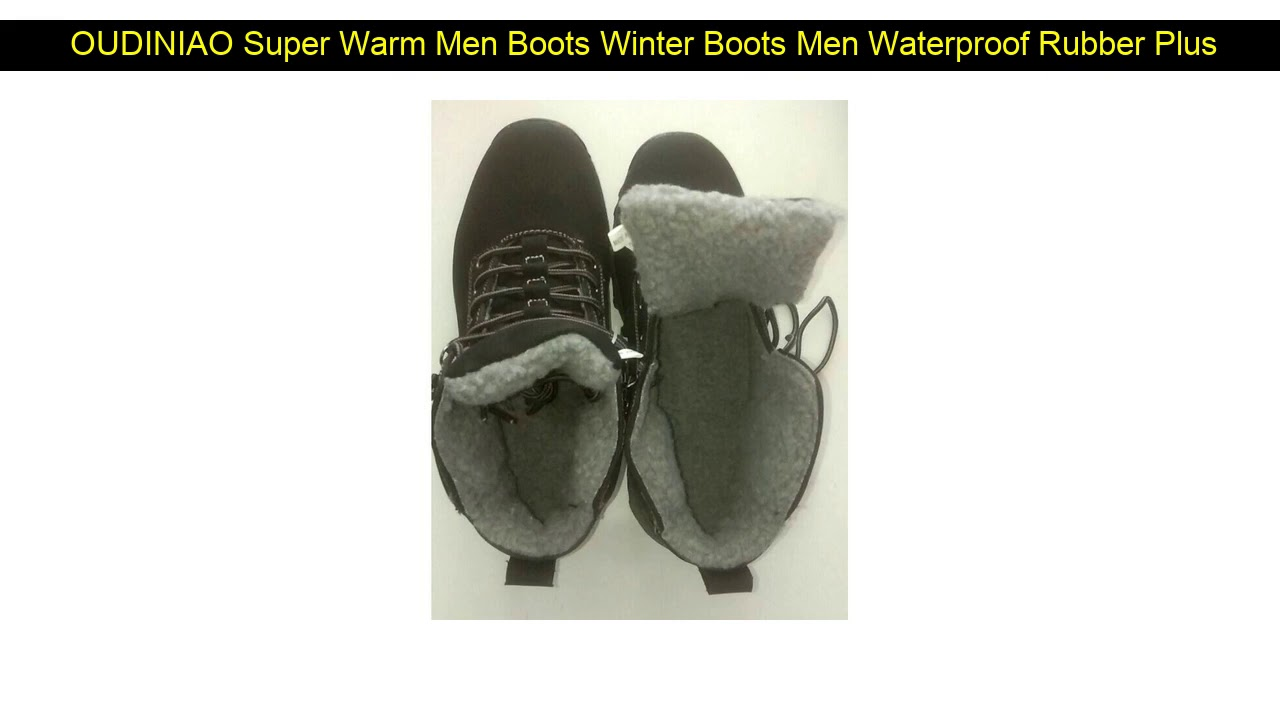 OUDINIAO Super Warm Men Boots Winter Boots Men Waterproof Rubber Plush Snow Boots Retro Ankle Boot