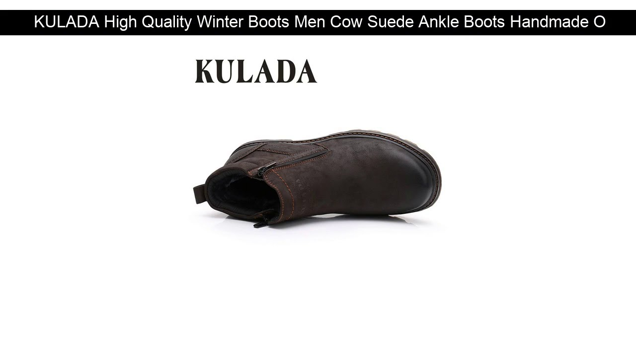 KULADA High Quality Winter Boots Men Cow Suede Ankle Boots Handmade Outdoor Working Boots Vintage