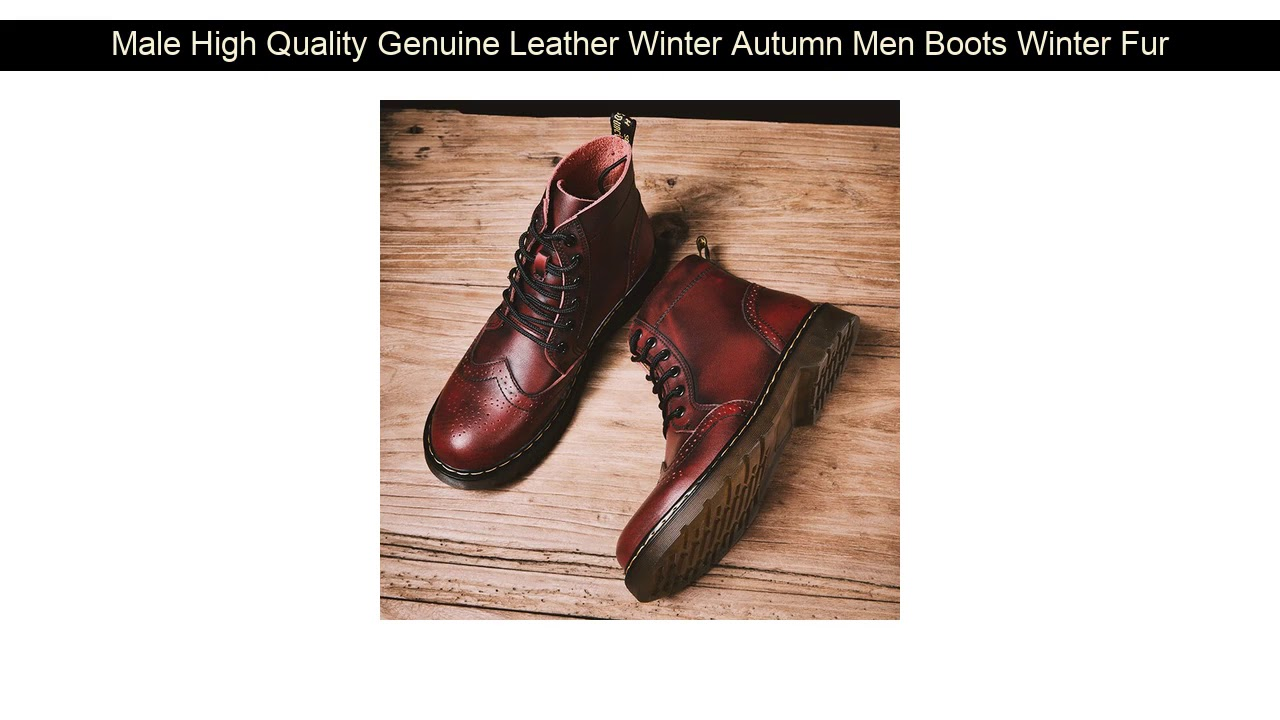 Male High Quality Genuine Leather Winter Autumn Men Boots Winter Fur Waterproof Ankle Boots Martin