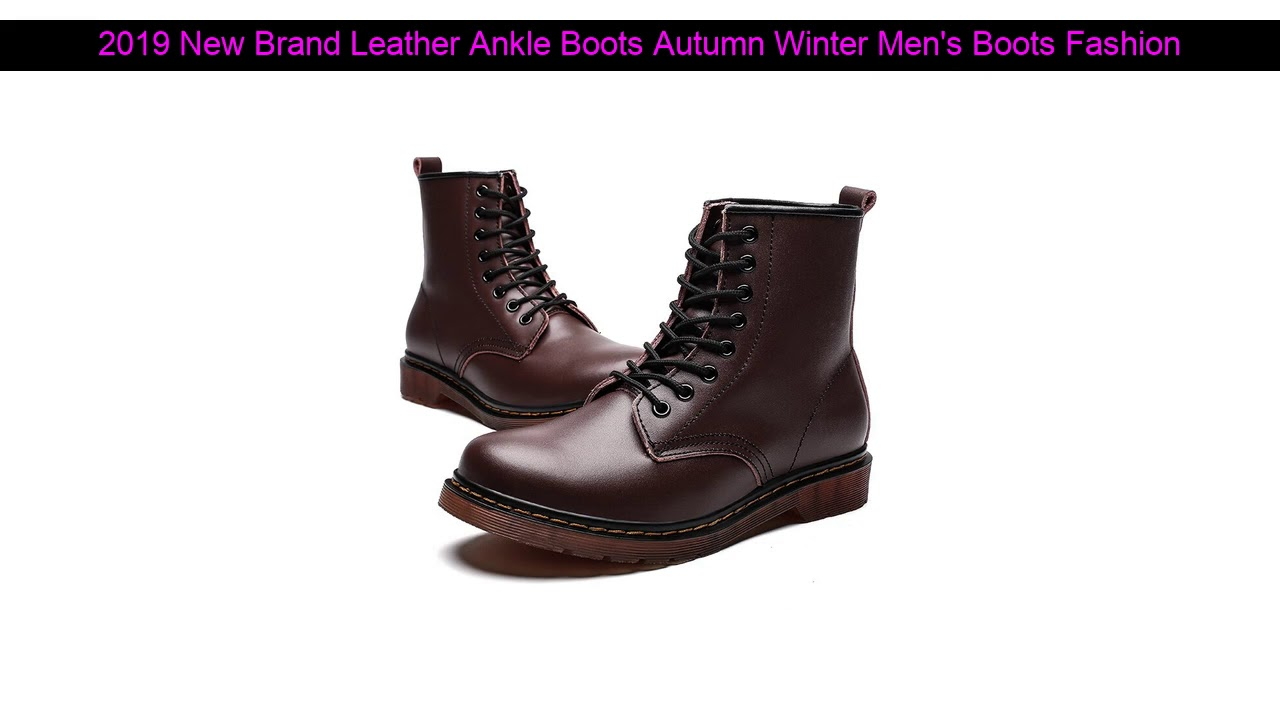 2019 New Brand Leather Ankle Boots Autumn Winter Men's Boots Fashion Motorcycle Boots Outdoor Work