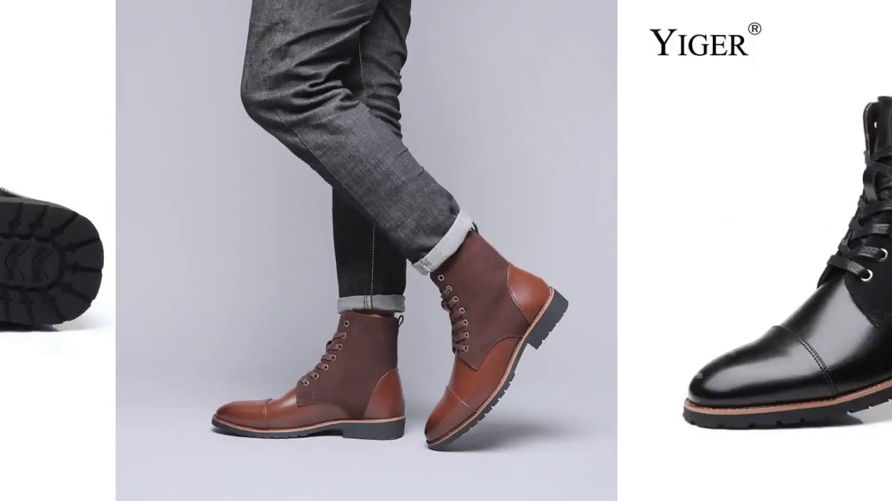 YIGER New Men martins boots casual male Motorcycle boots large size plus fur men's lace u…