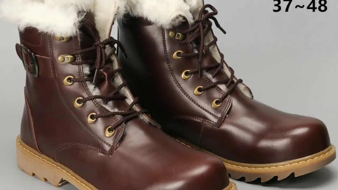 Natural Wool Winter Boots men Warmest Cow Leather winter shoes men #YM008-in Snow Boots from Shoe…