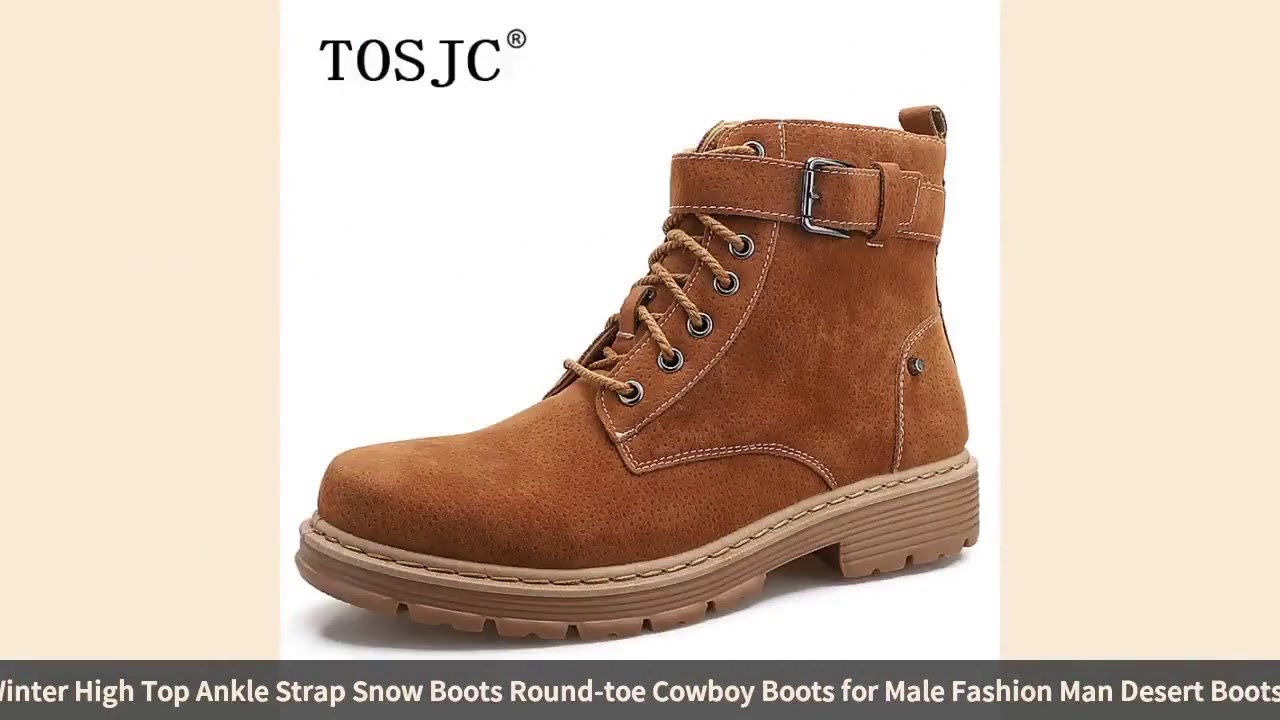 TOSJC Autumn Mens Handmade Boots Winter High Top Ankle Strap Snow Boots Round toe Cowboy Boots fo…
