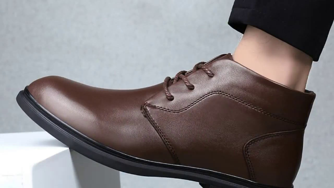 Cow Leather boots men size 37 46 Comfortable warm 2019 Non Slip Handmade winter shoes #SGM6025-in…