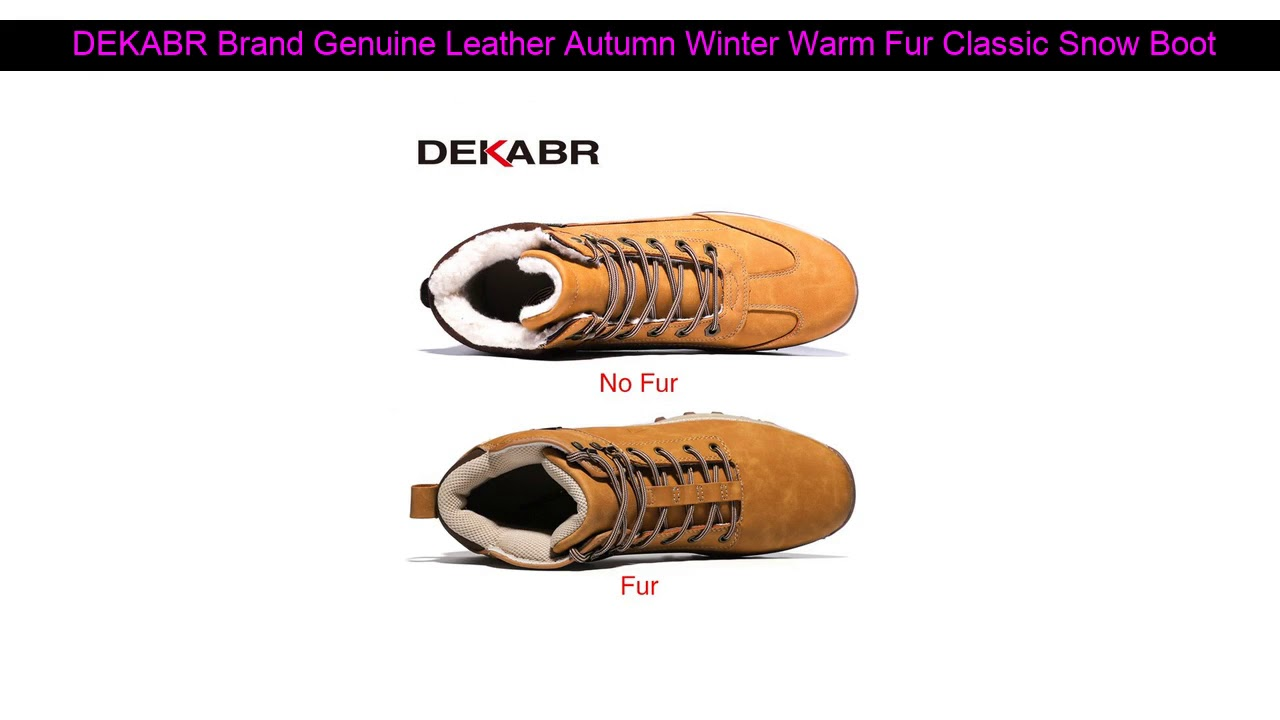 DEKABR Brand Genuine Leather Autumn Winter Warm Fur Classic Snow Boots Male Motorcycle Boots Men W