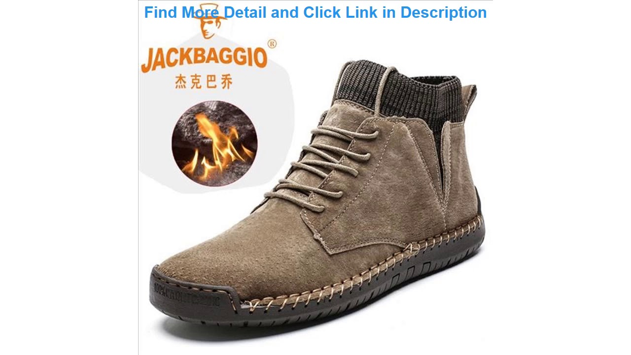 Review Snow Boots Winter Plush Warm Motorcycle Boots Lace-Up Non-slip Male Ankle Boots Waterproof A