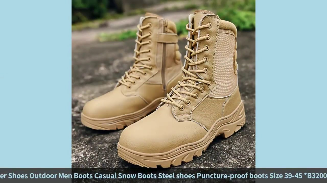 Men's Boots Fashion Warm Winter Shoes Outdoor Men Boots Casual Snow Boots Steel shoes Pun…
