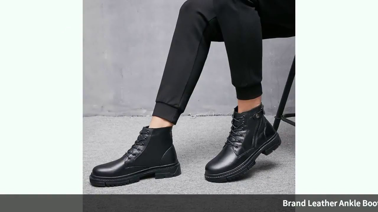 Brand Leather Ankle Boots Autumn Winter Men's Boots Fashion Motorcycle Boots Outdoor Work…