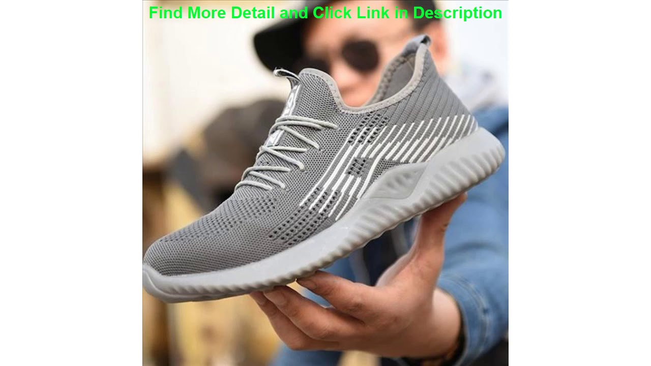 Safety Steel Toe Mens Mesh Fashion Puncture-Proof Boots Lightweight Breathable Work Shoe Militar Z
