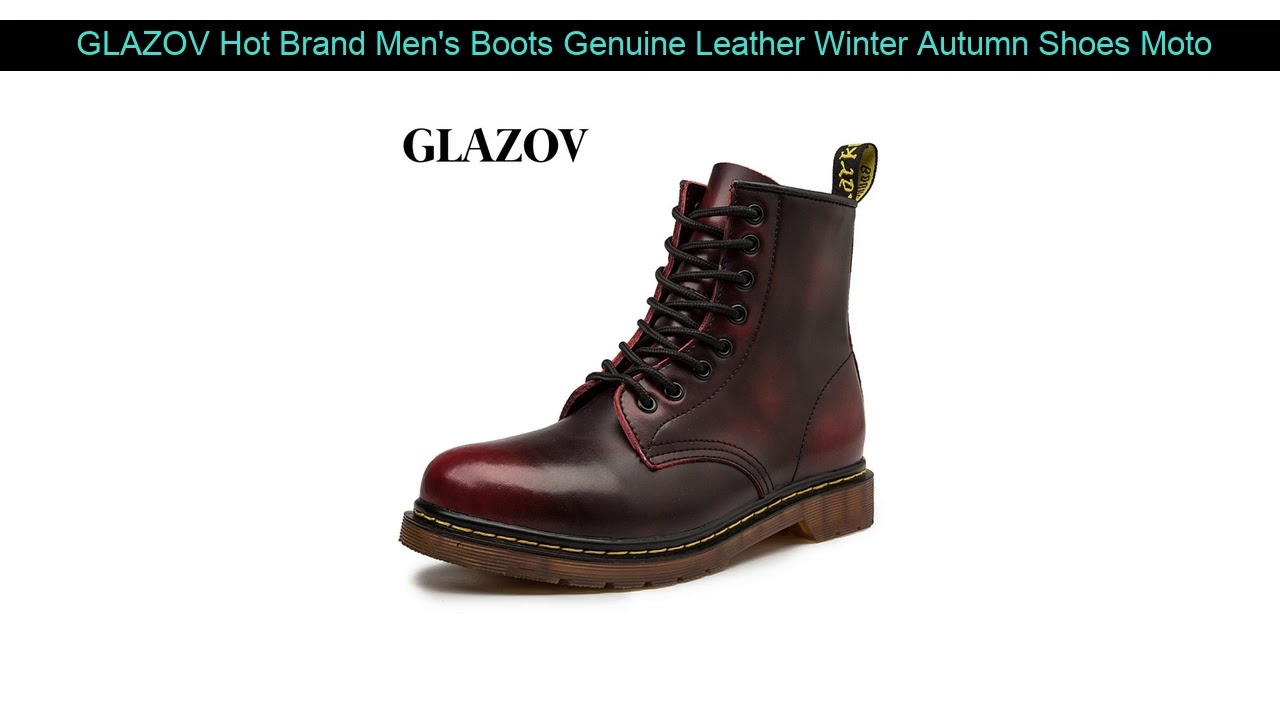 GLAZOV Hot Brand Men's Boots Genuine Leather Winter Autumn Shoes Motorcycle Mens Ankle Boot Couple