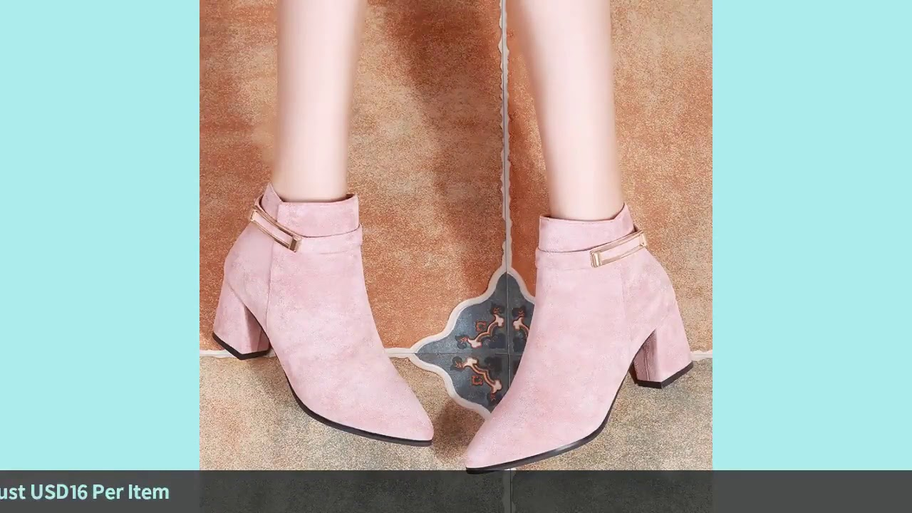 Women Pink Boots Winter High Heels New Fashion Black Flock Rivet Ladies Ankle Boots Pointed Toe S…