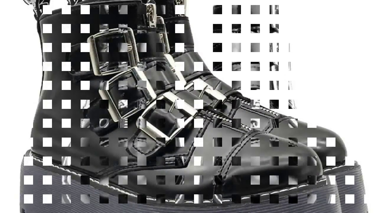 New Womens Gothic Rock Platform Shoes Retro Woman Motorcycle Ankle Boots Multi Buckle Zip Punk Sh…