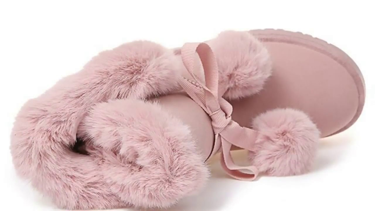 E TOY WORD Women Winter Boots Pom Poms Warm Snow Boots Casual Slip On boots women Plush Suede Pla…