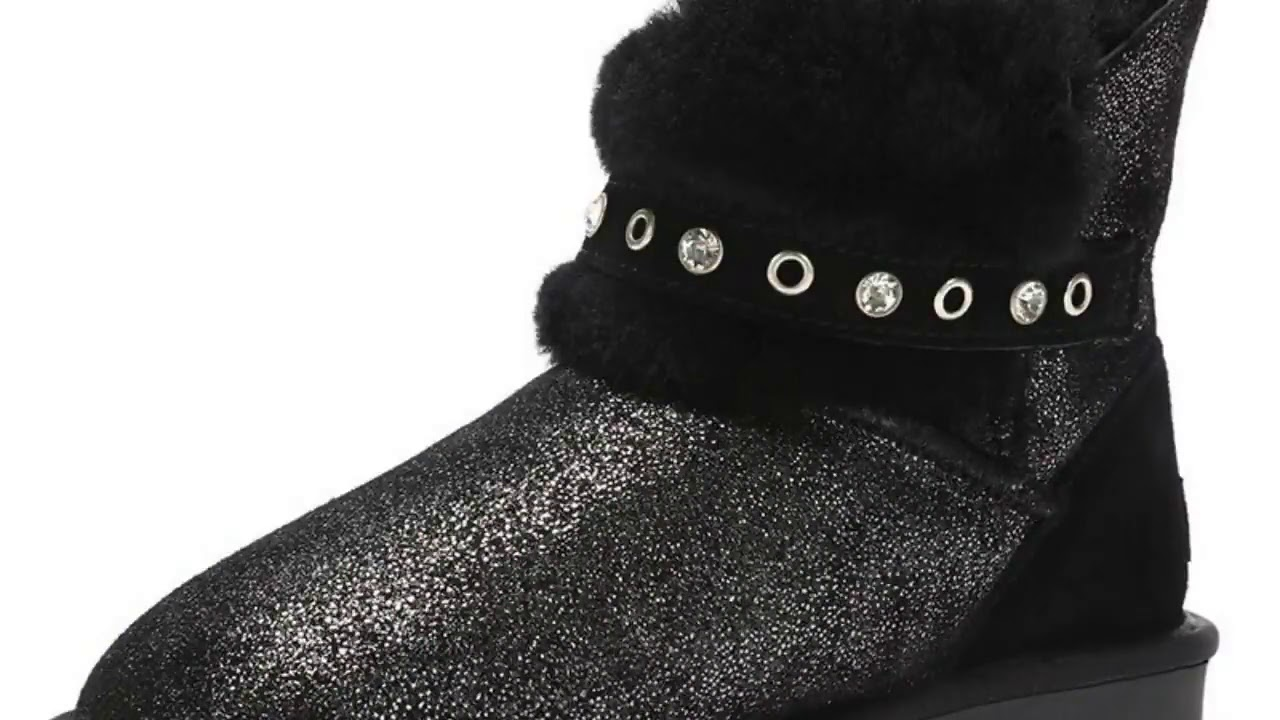 GOGC 2019 Ladies Snow Boots Glitter Genuine Leather Ankle Boots Women Crystal Fur Lined Winter Bo…